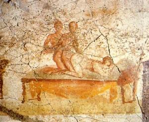 Kinky sex, muurschildering in Pompeï
