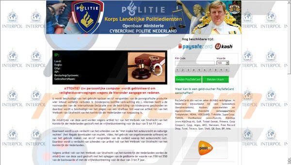Porno virus, cybercrime-politie-nederland-virus