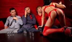 Striptease in een stripclub
